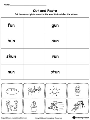 Learn word definition and spelling with this UN Word Family Match Picture with Word worksheet.