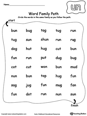 Find and circle words in this UN Word Family path printable worksheet.