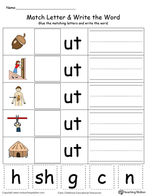 math worksheet : ug word family match letter and write the word in color  : Color Words Worksheets For Kindergarten