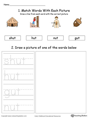 Practice drawing, tracing and identifying the sounds of the letters UT in this Word Family printable.