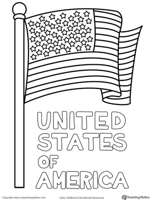Usa starburst coloring page for American flag coloring page for first grade