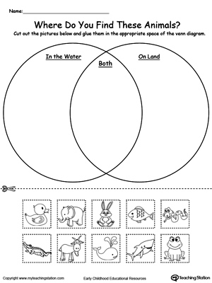 Venn diagram kindergarten worksheet to help children idenitfy animals ...
