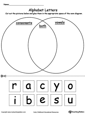 Worksheets Vowels And Consonants Worksheets alphabet letters venn diagram myteachingstation com diagram