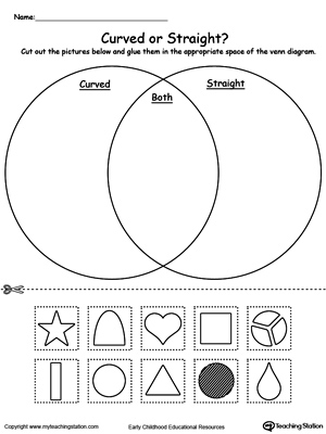math worksheet : venn diagram shapes curved or straight  myteachingstation  : Worksheets On Shapes For Kindergarten
