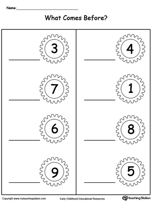 What Number Comes Before | MyTeachingStation.com