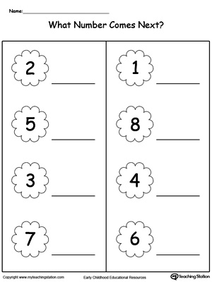 Practice identifying what number comes next in this preschool math ...