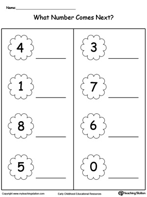 Practice the ability to identify what number comes next compared to other numbers in this printable worksheet.
