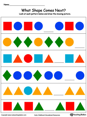 Printables Pattern Worksheets Kindergarten kindergarten patterns printable worksheets myteachingstation com what colorful shape comes next