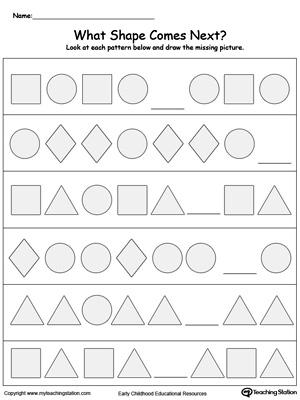 Kindergarten Patterns Printable Worksheets  MyteachingstationCom