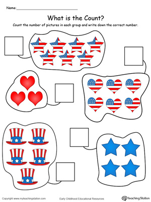 4th of July Count and Write the Number in Color