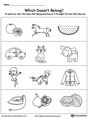 Identify the item that does not belong in this sorting and categorizing preschool math printable worksheet.