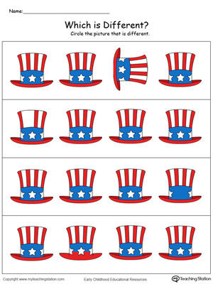 Practice identifying which hat is different in this patriotic math printable worksheet in color.