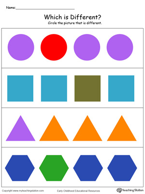Sorting shapes worksheet. Identify which shape is different in this preschool math worksheet in color.