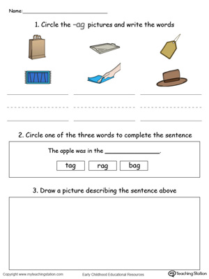 Circle pictures, trace words and draw in this AG Word Family printable worksheet in color.