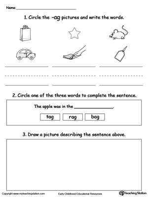 Circle pictures, trace words and draw in this AG Word Family printable worksheet.