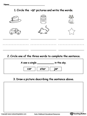 Word Recognition, Writing and Drawing: AR Words
