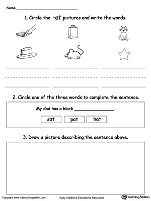 Circle pictures, trace words and draw in this AT Word Family printable worksheet.