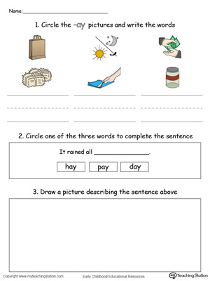Word Recognition, Writing and Drawing: AY Words in Color