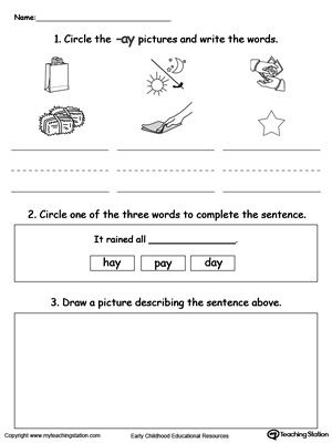 Word Recognition, Writing and Drawing: AY Words