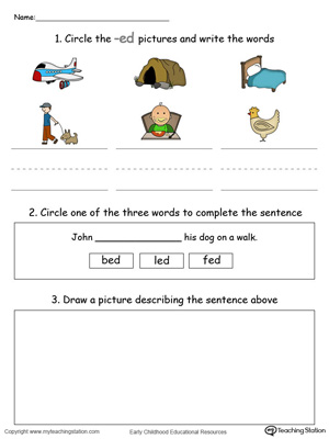 Circle pictures, trace words and draw in this ED Word Family printable worksheet in color.