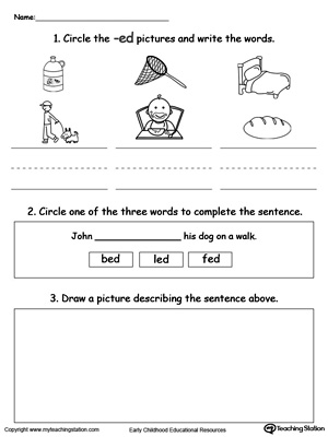 Word Recognition, Writing and Drawing: ED Words