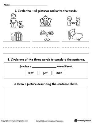 Circle pictures, trace words and draw in this ET Word Family printable worksheet.