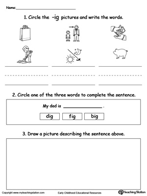 Circle pictures, trace words and draw in this IG Word Family printable worksheet.