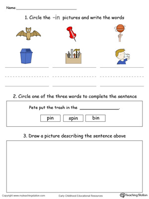 Circle pictures, trace words and draw in this IN Word Family printable worksheet in color.