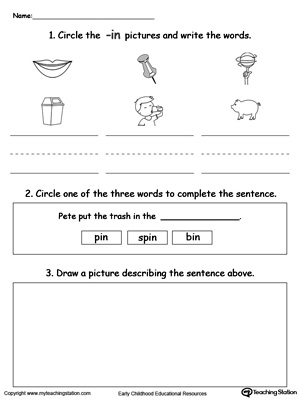 Circle pictures, trace words and draw in this IN Word Family printable worksheet.