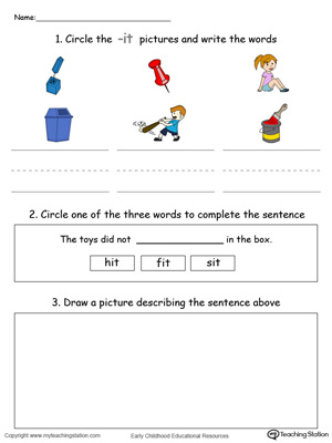 Circle pictures, trace words and draw in this IT Word Family printable worksheet in color.