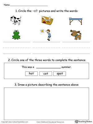 Circle pictures, trace words and draw in this OT Word Family printable worksheet in color.
