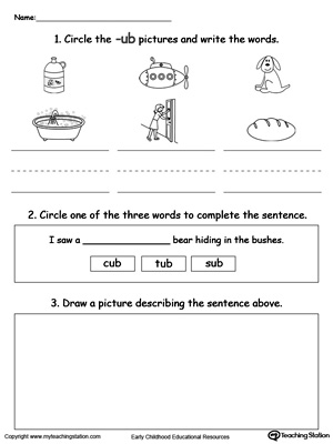 Word Recognition, Writing and Drawing: UB Words