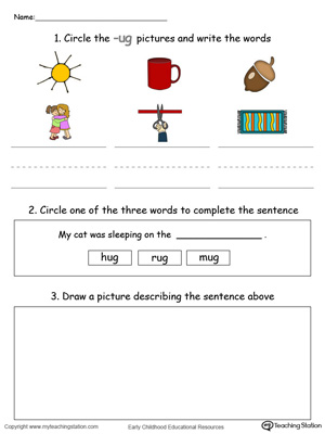 Circle pictures, trace words and draw in this UG Word Family printable worksheet in color.
