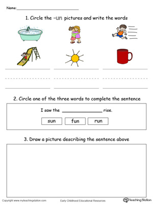 Word Recognition, Writing and Drawing: UN Words in Color