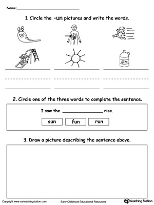 Word Recognition, Writing and Drawing: UN Words