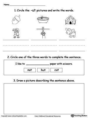 math worksheet : kindergarten reading printable worksheets  myteachingstation  : Printable Worksheets Kindergarten