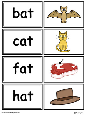 Word sorting and matching game with this AT Word Family printable worksheet in color.