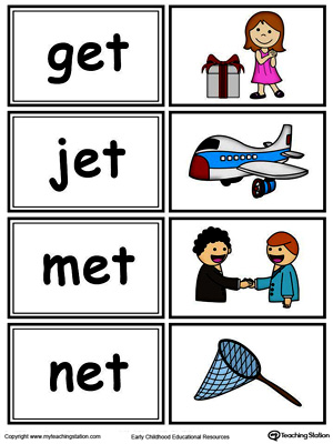 Word sorting and matching game with this ET Word Family printable worksheet in color.