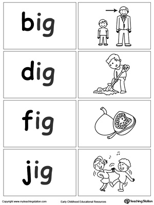 Sort and match words with this  IG Word Family printable worksheet.