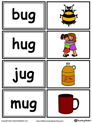 Word sorting and matching game with this UG Word Family printable worksheet in color.
