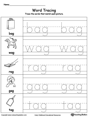 Word tracing ag words for Free printable name tracing templates