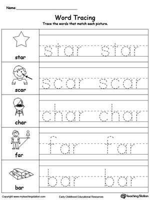 Word Tracing: AR Words
