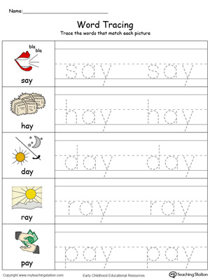 Word Tracing: AY Words in Color