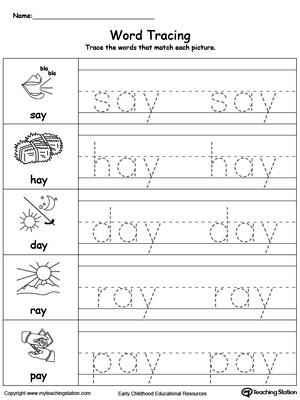 Word Tracing: AY Words