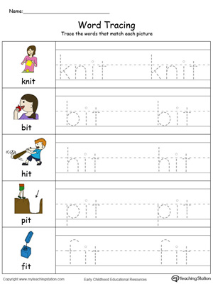 Trace and write short words with this IT Word Family printable worksheet in color.