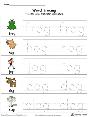 Trace and write short words with this OG Word Family printable worksheet in color.