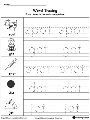 Practice tracing and writing short words with this OT Word Family printable worksheet.