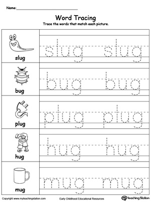 Word Tracing: AY Words | MyTeachingStation.com