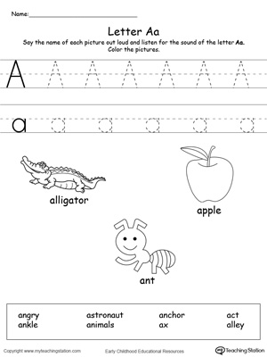 Practice saying the name of the picture and tracing the uppercase and lowercase letter A in this printable worksheet.