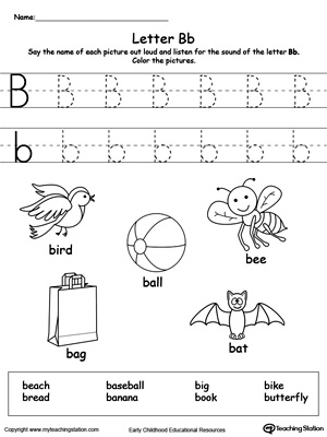 Worksheets Letter B Worksheets Kindergarten writing uppercase letter b myteachingstation com words starting with b